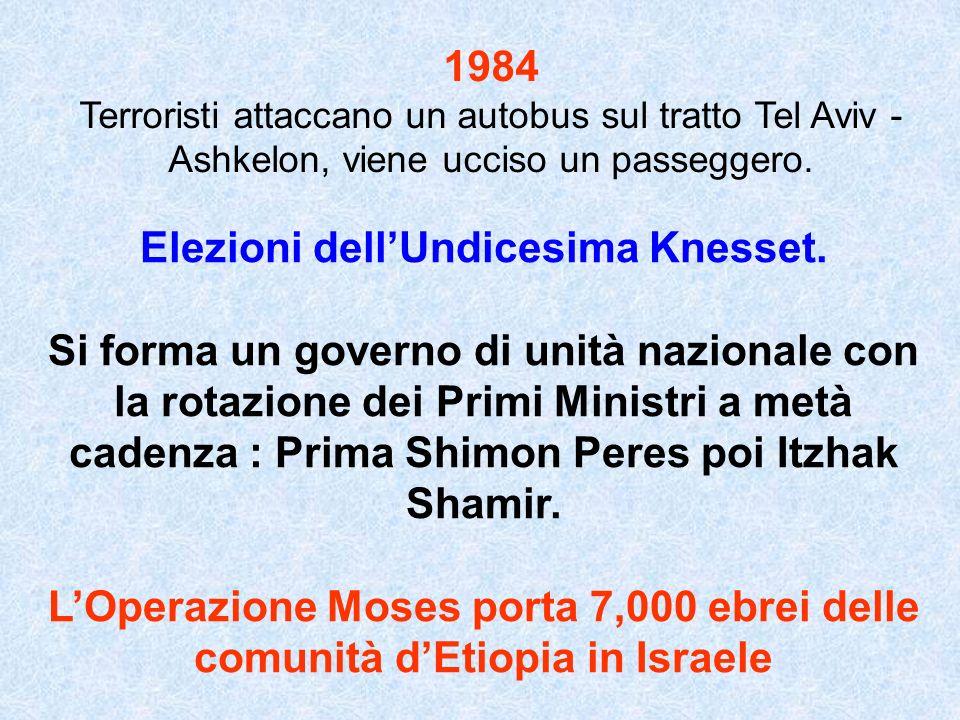 1984 Terroristi attaccano un autobus sul tratto Tel Aviv - Ashkelon, viene ucciso un passeggero. Elezioni dellUndicesima Knesset. Si forma un governo