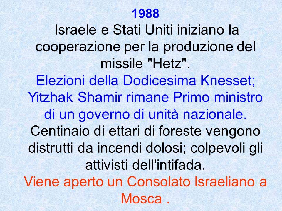 1988 Israele e Stati Uniti iniziano la cooperazione per la produzione del missile Hetz .