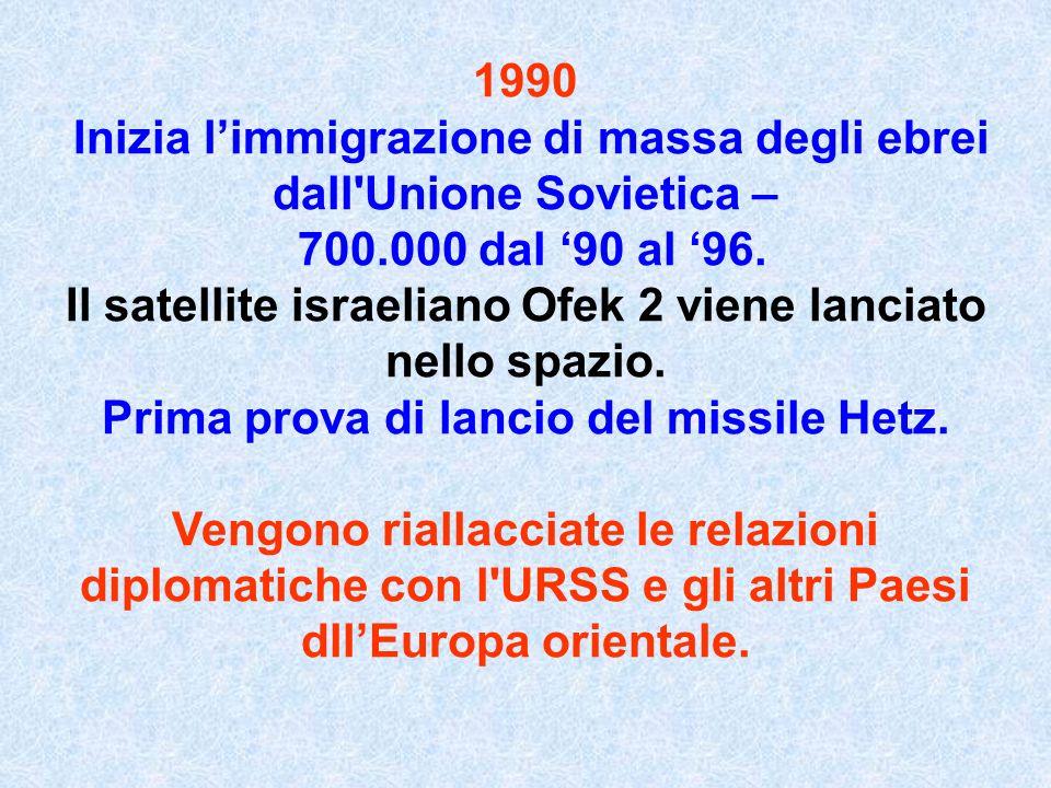 1990 Inizia limmigrazione di massa degli ebrei dall'Unione Sovietica – 700.000 dal 90 al 96. Il satellite israeliano Ofek 2 viene lanciato nello spazi