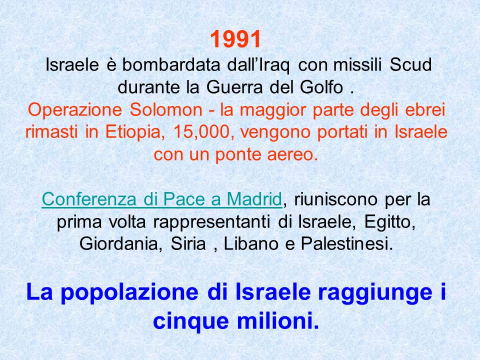 1991 Israele è bombardata dallIraq con missili Scud durante la Guerra del Golfo. Operazione Solomon - la maggior parte degli ebrei rimasti in Etiopia,