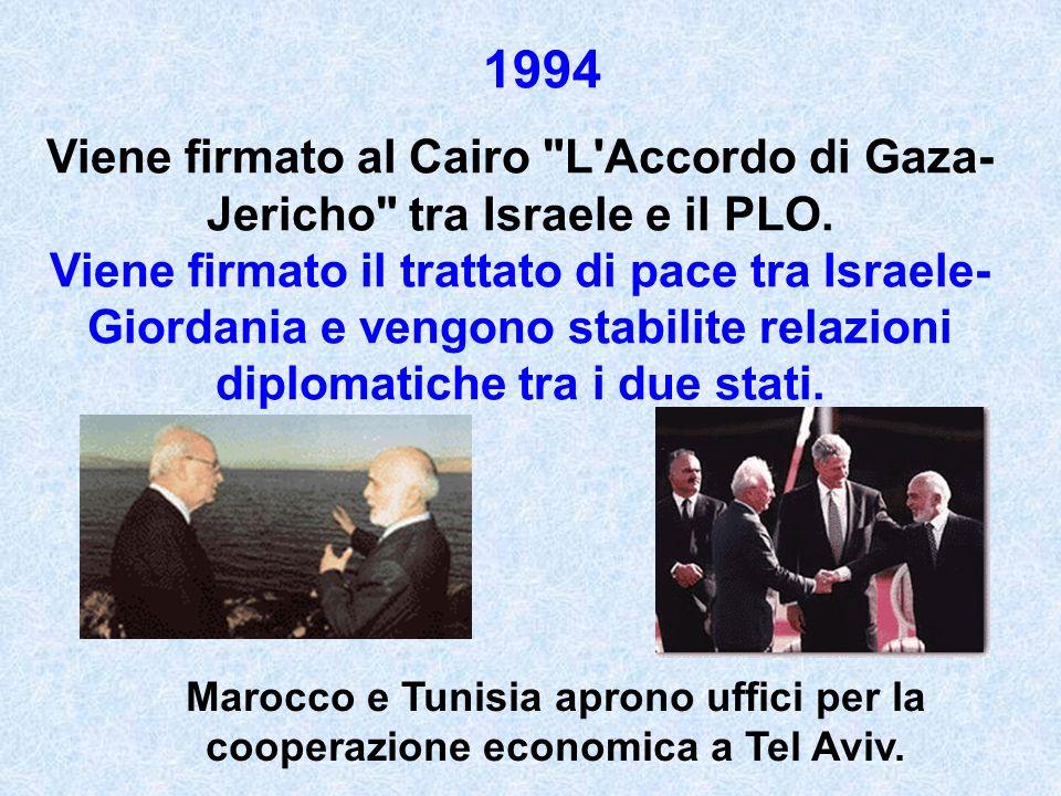 Viene firmato al Cairo L Accordo di Gaza- Jericho tra Israele e il PLO.
