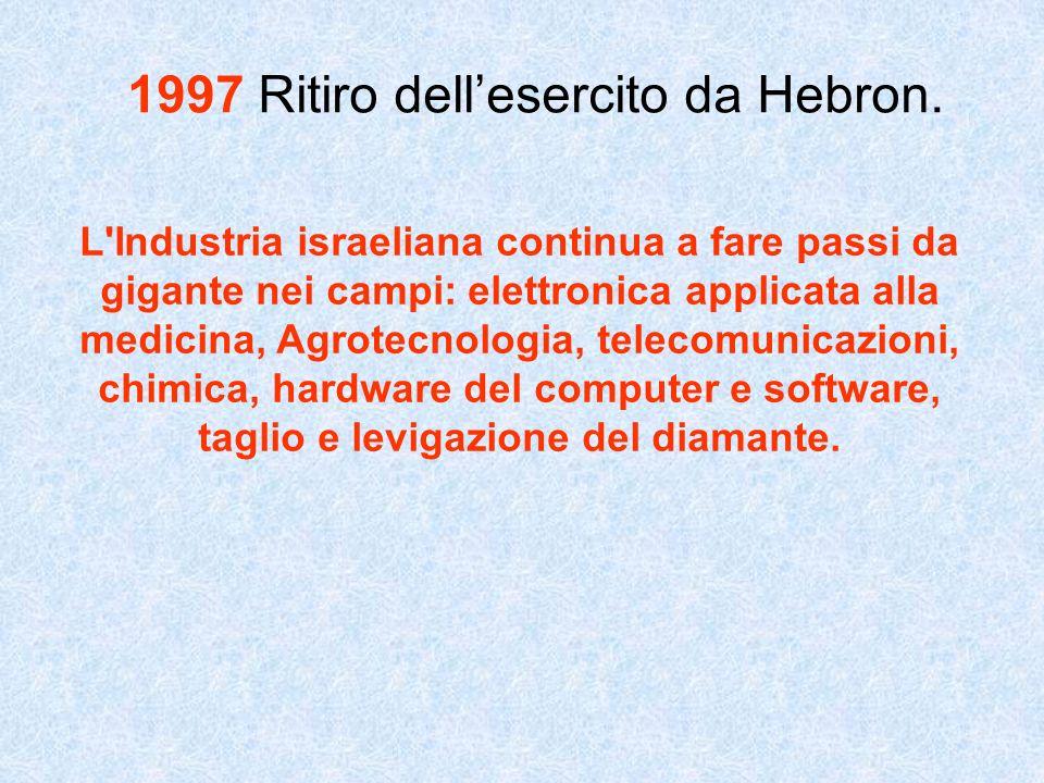 1997 Ritiro dellesercito da Hebron. L'Industria israeliana continua a fare passi da gigante nei campi: elettronica applicata alla medicina, Agrotecnol