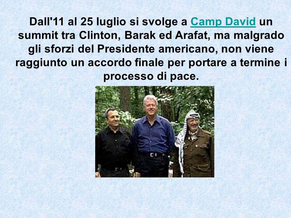 Dall 11 al 25 luglio si svolge a Camp David un summit tra Clinton, Barak ed Arafat, ma malgrado gli sforzi del Presidente americano, non viene raggiunto un accordo finale per portare a termine i processo di pace.Camp David