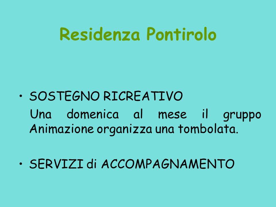 Siamo presenti presso la Residenza Sanitaria Anziani Pontirolo di Assago, per attivita di sostegno ricreativo, accompagnamento e trasporto di resident