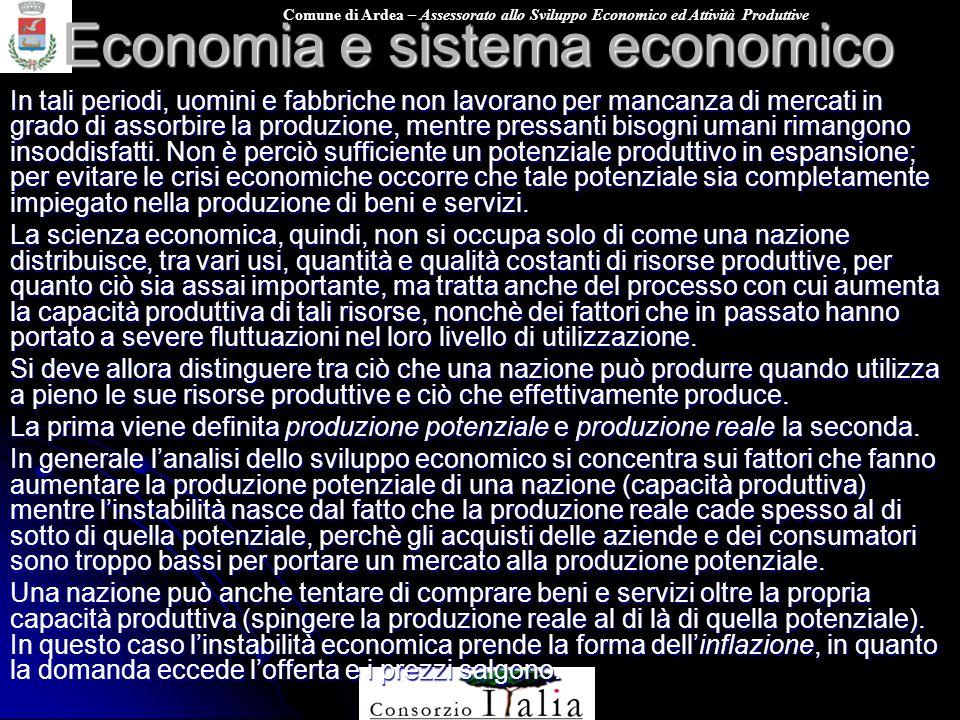 Comune di Ardea – Assessorato allo Sviluppo Economico ed Attività Produttive Economia e sistema economico In tali periodi, uomini e fabbriche non lavo