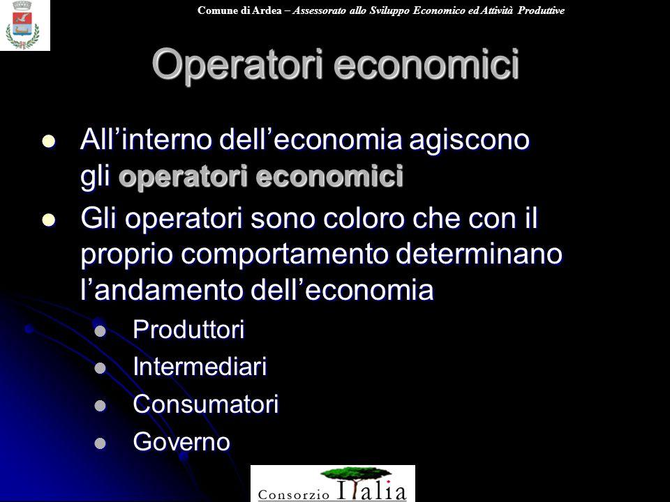 Comune di Ardea – Assessorato allo Sviluppo Economico ed Attività Produttive Operatori economici Allinterno delleconomia agiscono gli operatori econom