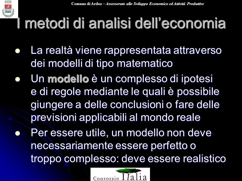 Comune di Ardea – Assessorato allo Sviluppo Economico ed Attività Produttive I metodi di analisi delleconomia La realtà viene rappresentata attraverso