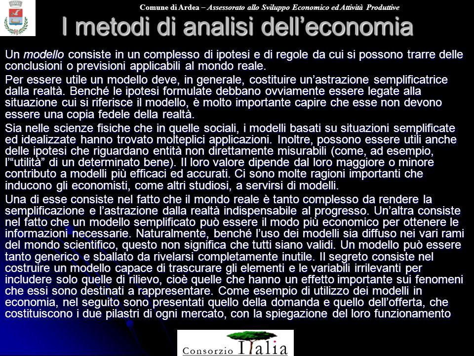 Comune di Ardea – Assessorato allo Sviluppo Economico ed Attività Produttive I metodi di analisi delleconomia Un modello consiste in un complesso di i