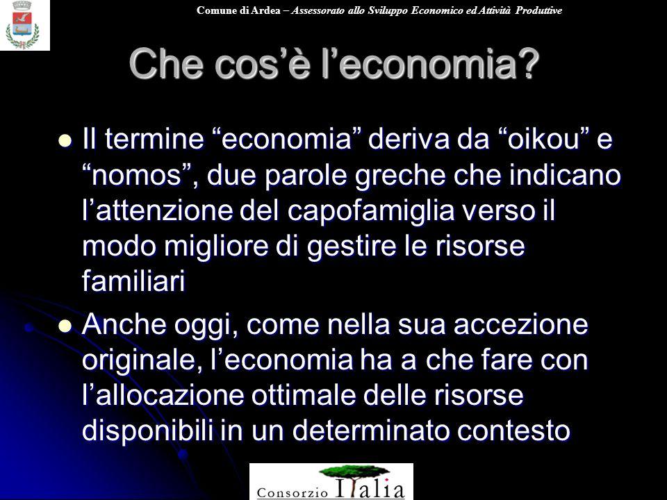 Comune di Ardea – Assessorato allo Sviluppo Economico ed Attività Produttive Che cosè leconomia.