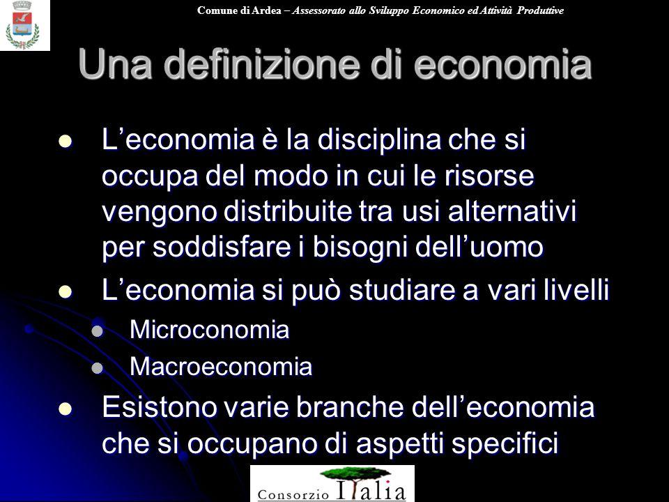 Comune di Ardea – Assessorato allo Sviluppo Economico ed Attività Produttive Una definizione di economia Leconomia è la disciplina che si occupa del m