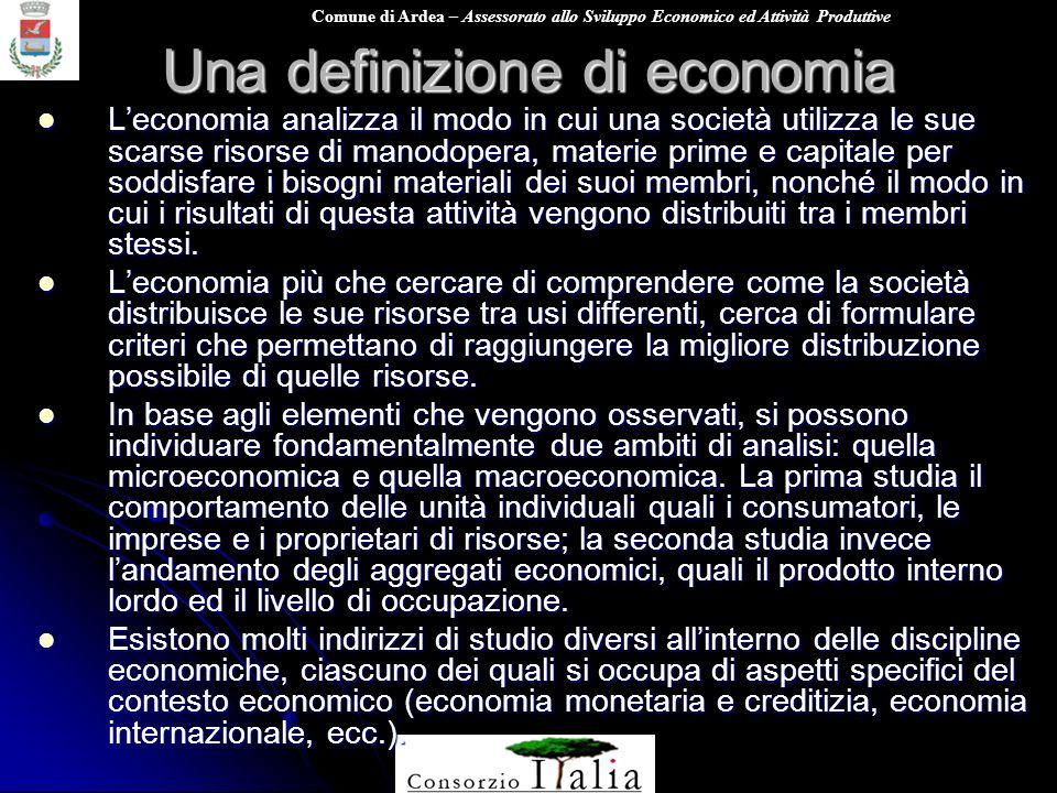 Comune di Ardea – Assessorato allo Sviluppo Economico ed Attività Produttive Una definizione di economia Leconomia analizza il modo in cui una società