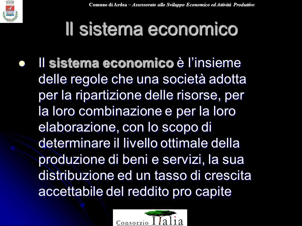 Comune di Ardea – Assessorato allo Sviluppo Economico ed Attività Produttive Il sistema economico Il sistema economico è linsieme delle regole che una