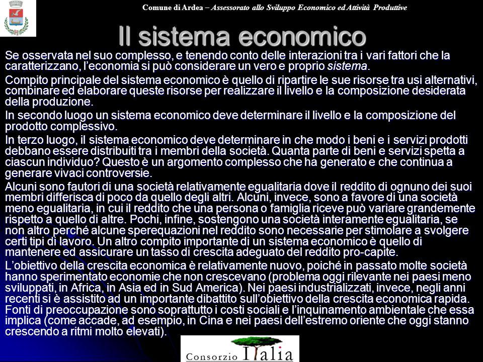 Comune di Ardea – Assessorato allo Sviluppo Economico ed Attività Produttive Il sistema economico Se osservata nel suo complesso, e tenendo conto dell