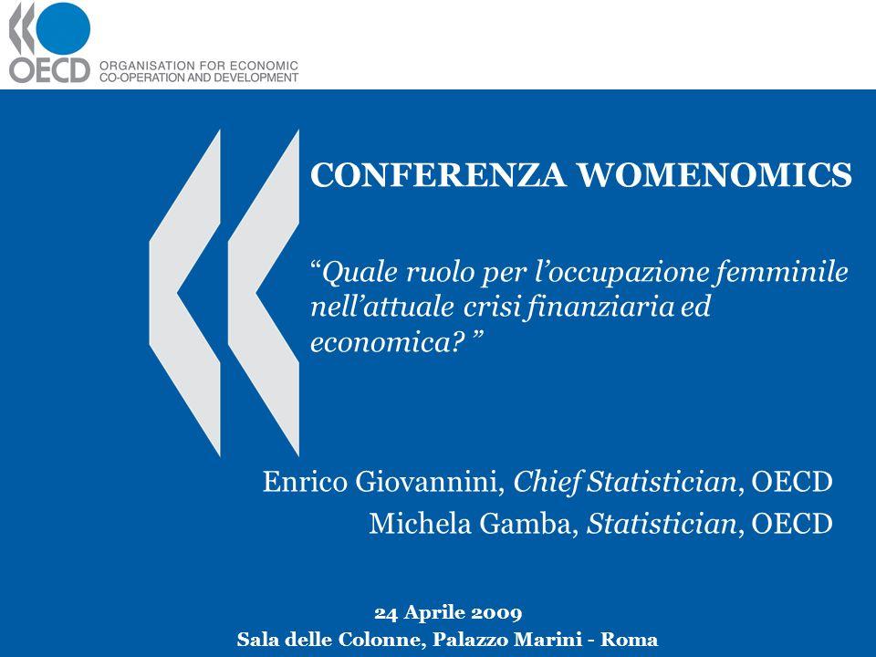 CONFERENZA WOMENOMICSQuale ruolo per loccupazione femminile nellattuale crisi finanziaria ed economica? Enrico Giovannini, Chief Statistician, OECD Mi