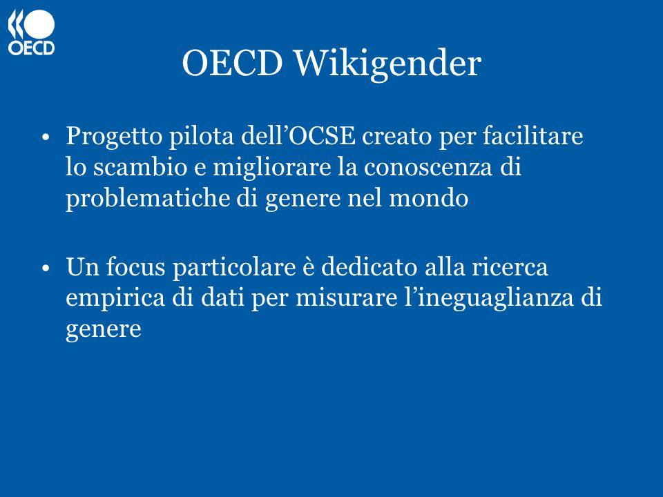 OECD Wikigender Progetto pilota dellOCSE creato per facilitare lo scambio e migliorare la conoscenza di problematiche di genere nel mondo Un focus par
