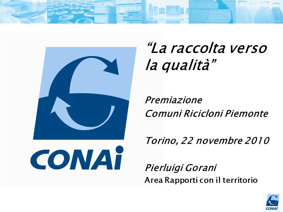 La raccolta verso la qualità Premiazione Comuni Ricicloni Piemonte Torino, 22 novembre 2010 Pierluigi Gorani Area Rapporti con il territorio