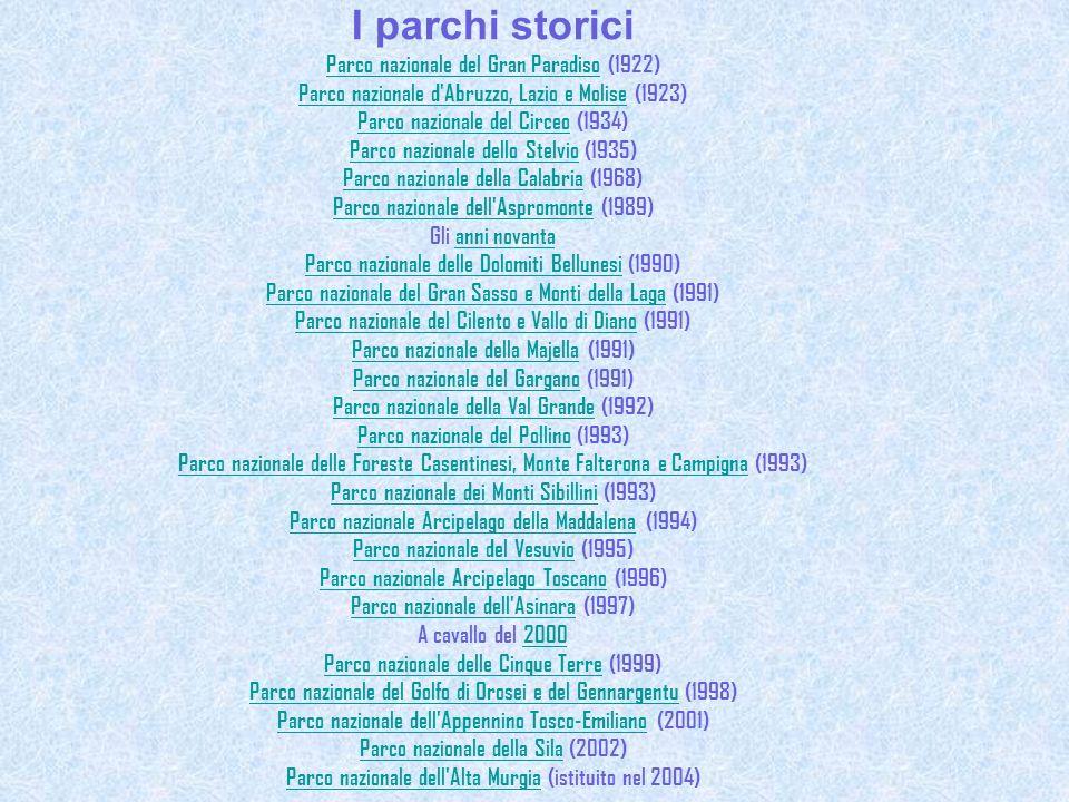 I parchi storici Parco nazionale del Gran ParadisoParco nazionale del Gran Paradiso (1922) Parco nazionale d'Abruzzo, Lazio e MoliseParco nazionale d'
