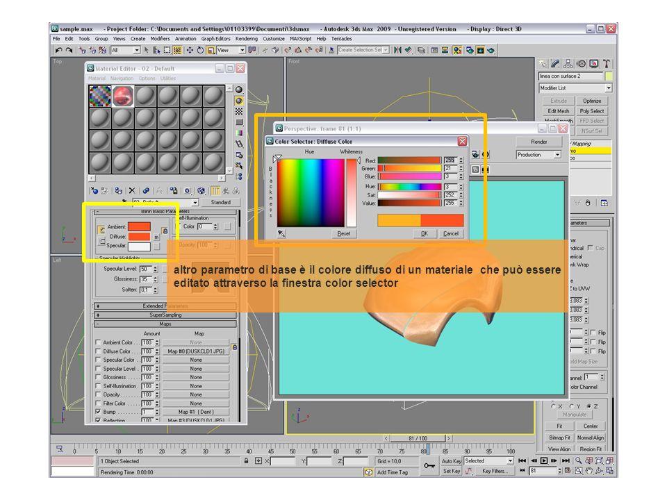 altro parametro di base è il colore diffuso di un materiale che può essere editato attraverso la finestra color selector