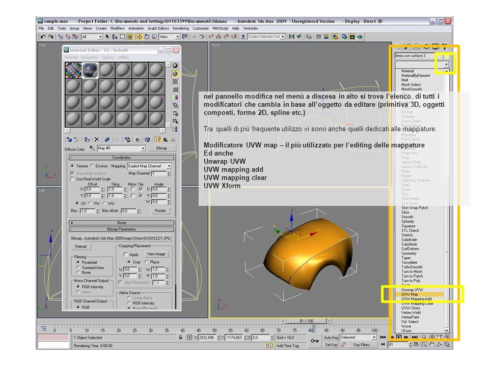 nel pannello modifica nel menù a discesa in alto si trova lelenco di tutti i modificatori che cambia in base alloggetto da editare (primitiva 3D, ogge
