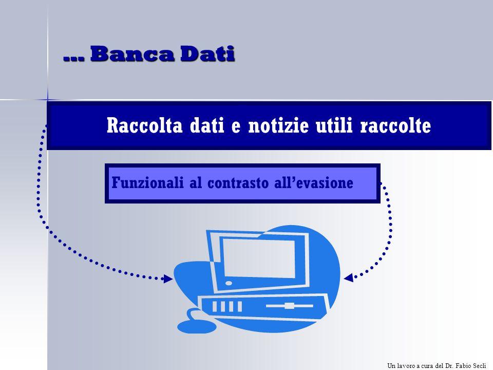 … Banca Dati Raccolta dati e notizie utili raccolte Funzionali al contrasto allevasione Un lavoro a cura del Dr.