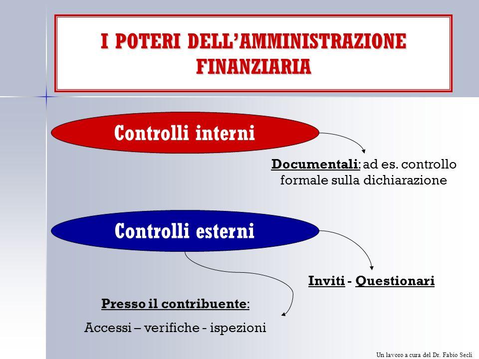 I POTERI DELLAMMINISTRAZIONE FINANZIARIA Controlli interni Controlli esterni Documentali: ad es.