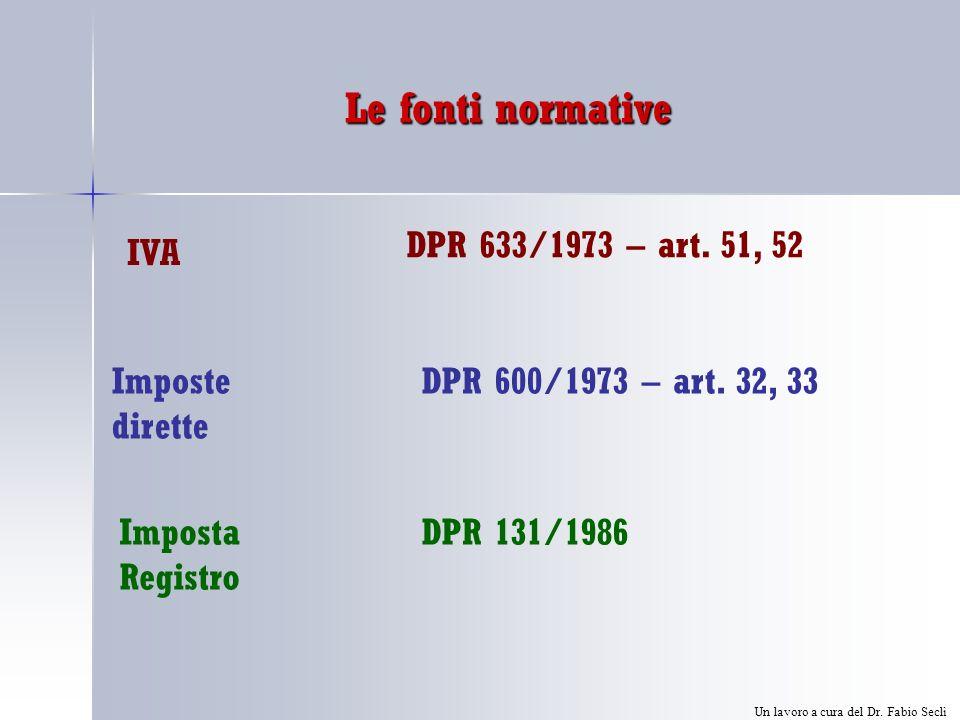 Le fonti normative Imposte dirette IVA DPR 633/1973 – art.
