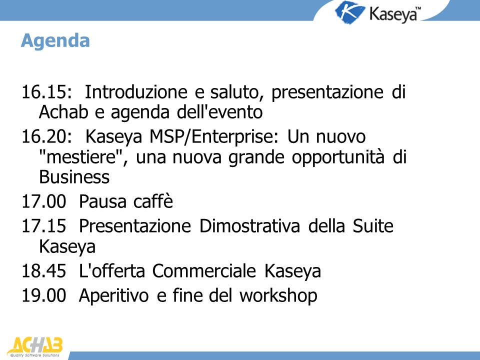Agenda 16.15: Introduzione e saluto, presentazione di Achab e agenda dell'evento 16.20: Kaseya MSP/Enterprise: Un nuovo