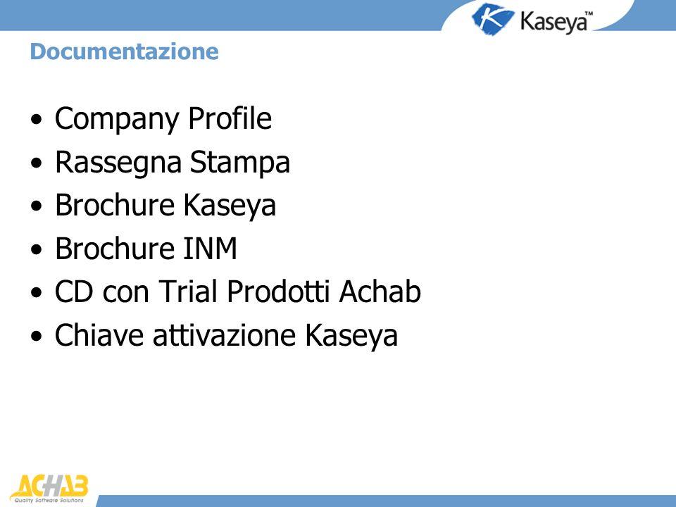 Company Profile Rassegna Stampa Brochure Kaseya Brochure INM CD con Trial Prodotti Achab Chiave attivazione Kaseya