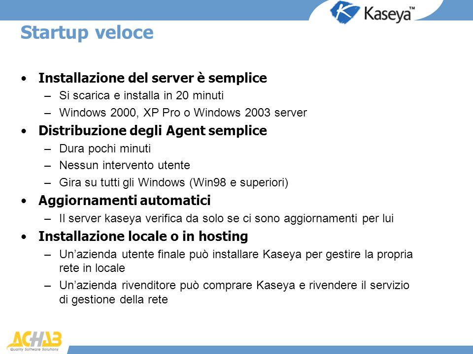 Startup veloce Installazione del server è semplice –Si scarica e installa in 20 minuti –Windows 2000, XP Pro o Windows 2003 server Distribuzione degli