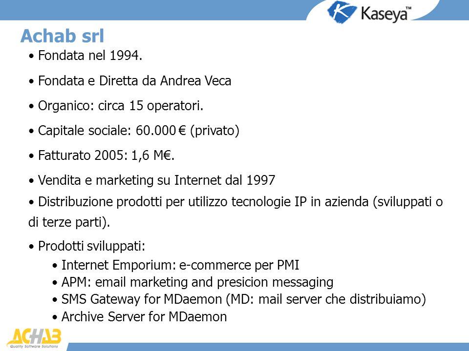 Fondata nel 1994. Fondata e Diretta da Andrea Veca Organico: circa 15 operatori. Capitale sociale: 60.000 (privato) Fatturato 2005: 1,6 M. Vendita e m