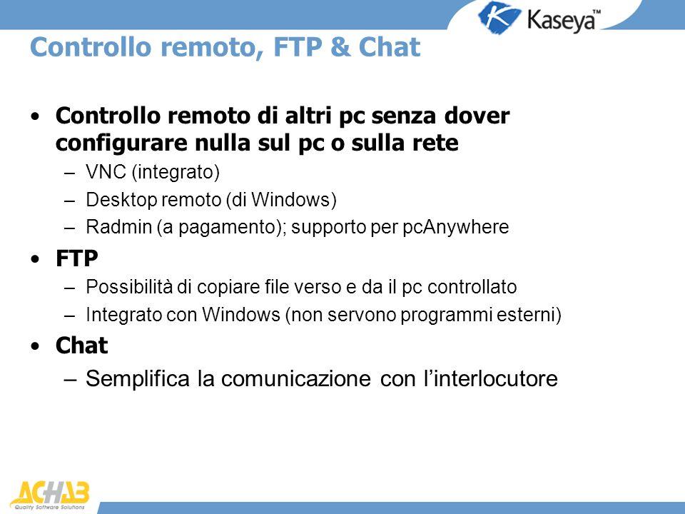 Controllo remoto, FTP & Chat Controllo remoto di altri pc senza dover configurare nulla sul pc o sulla rete –VNC (integrato) –Desktop remoto (di Windo