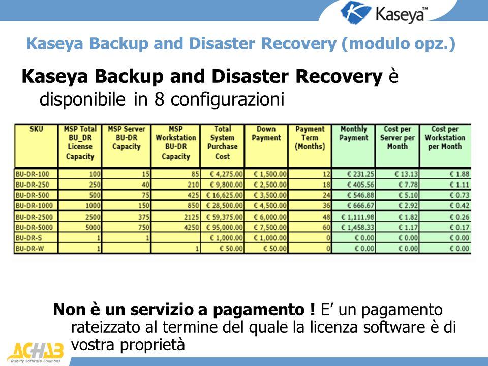 Kaseya Backup and Disaster Recovery è disponibile in 8 configurazioni Kaseya Backup and Disaster Recovery (modulo opz.) Non è un servizio a pagamento