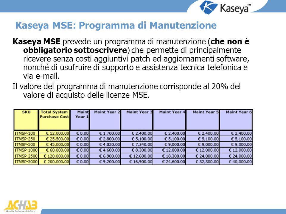 Kaseya MSE prevede un programma di manutenzione (che non è obbligatorio sottoscrivere) che permette di principalmente ricevere senza costi aggiuntivi