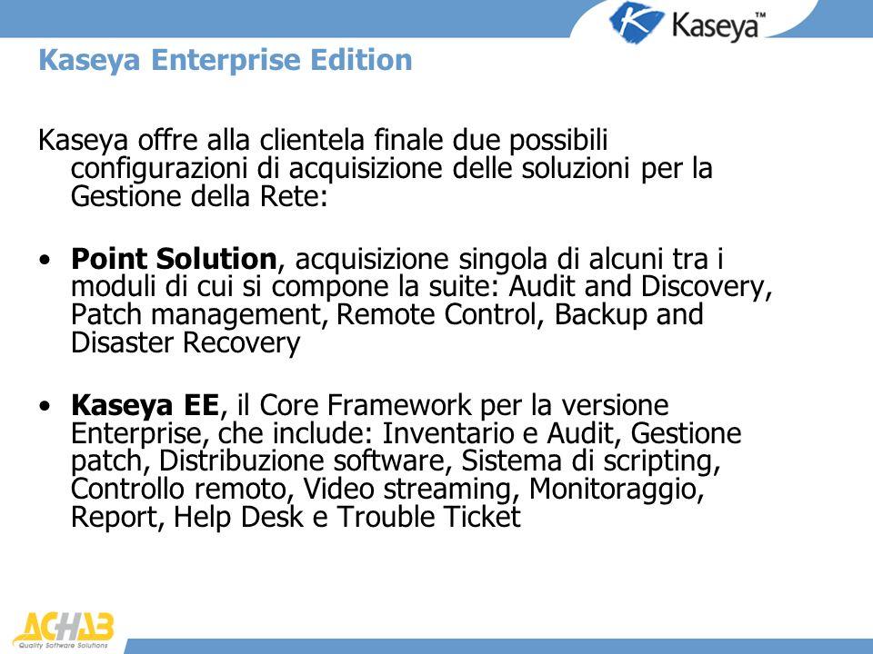 Kaseya Enterprise Edition Kaseya offre alla clientela finale due possibili configurazioni di acquisizione delle soluzioni per la Gestione della Rete: