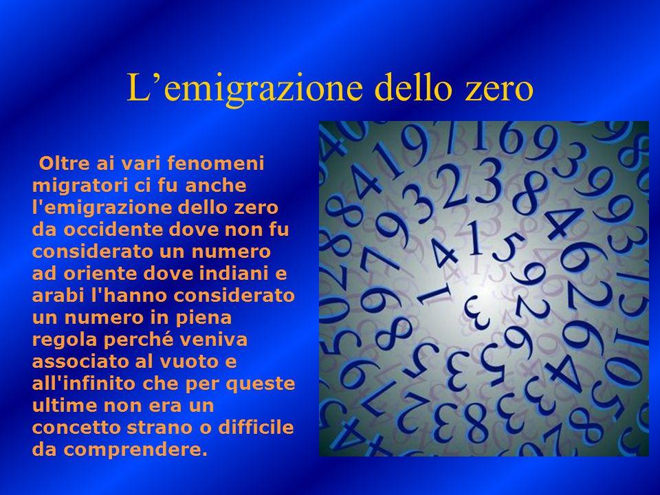 Lemigrazione dello zero Oltre ai vari fenomeni migratori ci fu anche l'emigrazione dello zero da occidente dove non fu considerato un numero ad orient