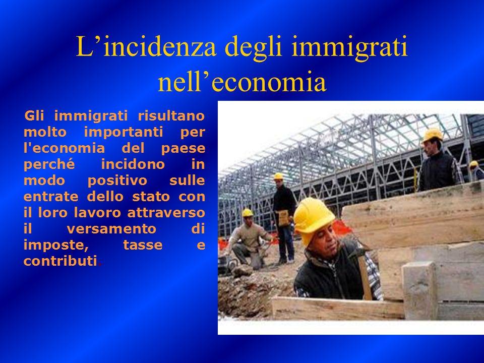 Lincidenza degli immigrati nelleconomia Gli immigrati risultano molto importanti per l'economia del paese perché incidono in modo positivo sulle entra