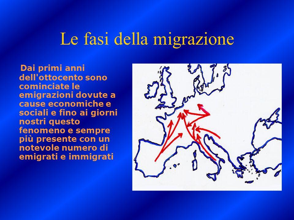 Le fasi della migrazione Dai primi anni dell'ottocento sono cominciate le emigrazioni dovute a cause economiche e sociali e fino ai giorni nostri ques
