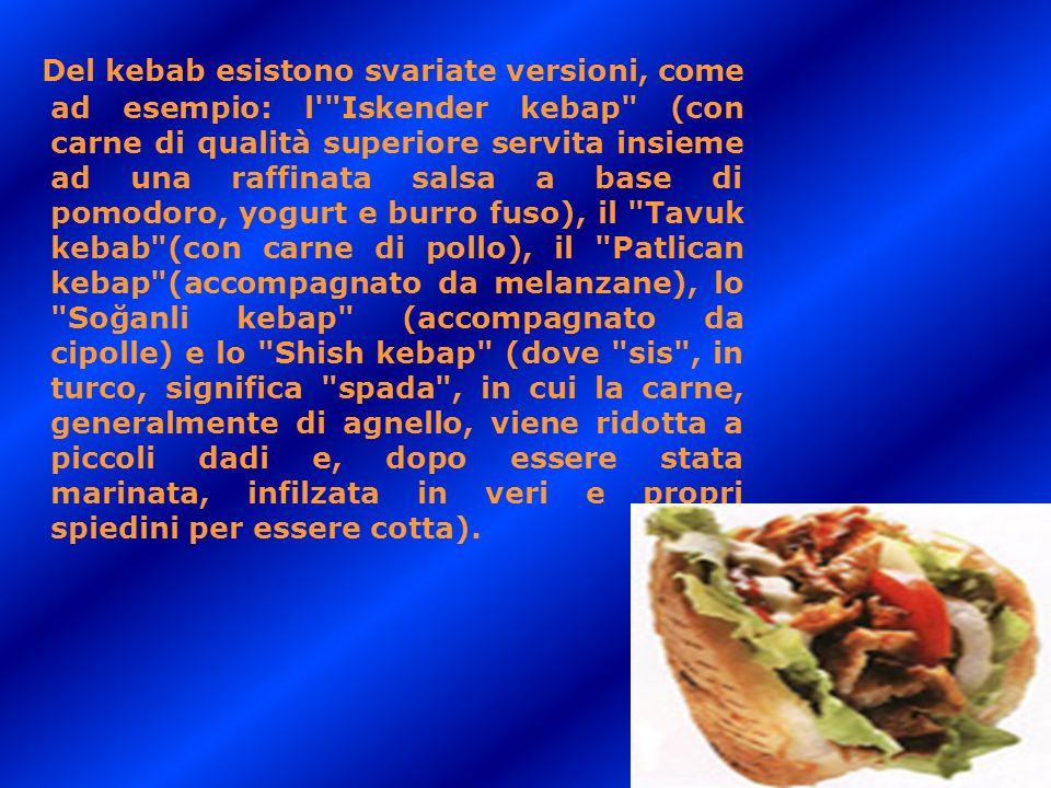 Del kebab esistono svariate versioni, come ad esempio: l'