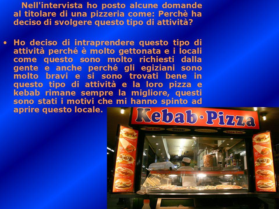 Nell'intervista ho posto alcune domande al titolare di una pizzeria come: Perchè ha deciso di svolgere questo tipo di attività? Ho deciso di intrapren