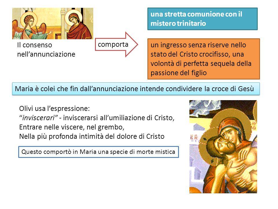Il consenso nellannunciazione comporta una stretta comunione con il mistero trinitario un ingresso senza riserve nello stato del Cristo crocifisso, un