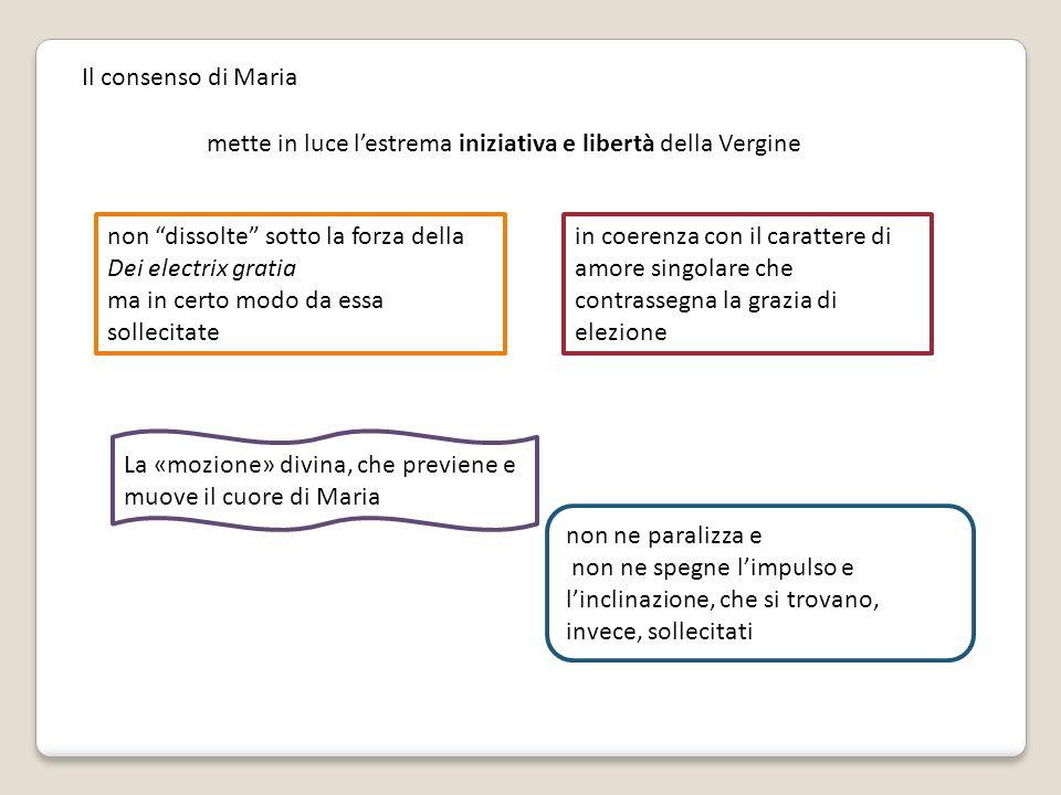 Il consenso di Maria mette in luce lestrema iniziativa e libertà della Vergine non dissolte sotto la forza della Dei electrix gratia ma in certo modo