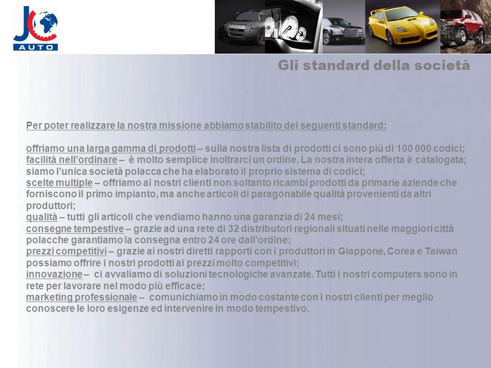 Gli standard della società Per poter realizzare la nostra missione abbiamo stabilito dei seguenti standard: offriamo una larga gamma di prodotti – sul