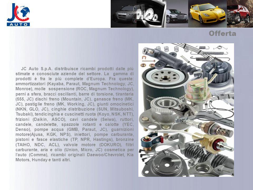 Offerta JC Auto S.p.A. distribuisce ricambi prodotti dalle più stimate e conosciute aziende del settore. La gamma di prodotti è fra le più complete dE
