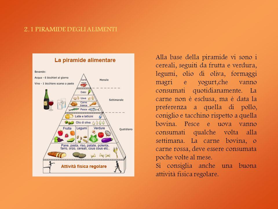 2.1 PIRAMIDE DEGLI ALIMENTI Alla base della piramide vi sono i cereali, seguiti da frutta e verdura, legumi, olio di oliva, formaggi magri e yogurt,ch