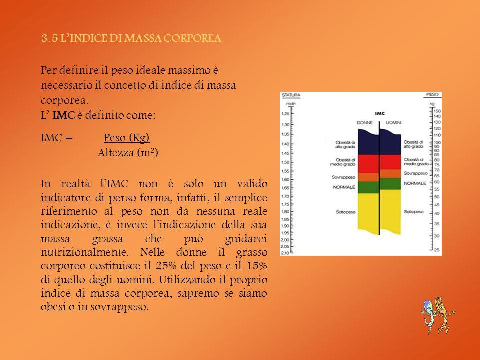 3.5 LINDICE DI MASSA CORPOREA Per definire il peso ideale massimo è necessario il concetto di indice di massa corporea. L IMC è definito come: IMC = P