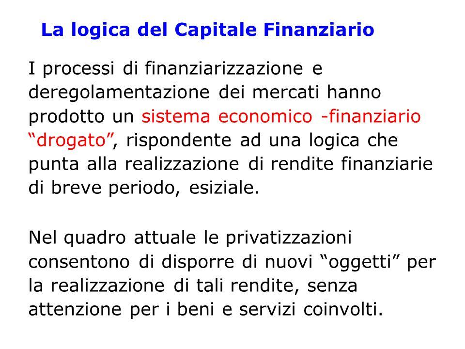 La logica del Capitale Finanziario I processi di finanziarizzazione e deregolamentazione dei mercati hanno prodotto un sistema economico -finanziario