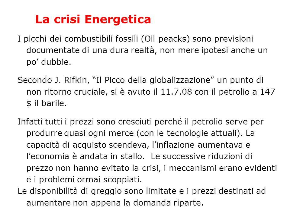 La crisi Energetica I picchi dei combustibili fossili (Oil peacks) sono previsioni documentate di una dura realtà, non mere ipotesi anche un po dubbie