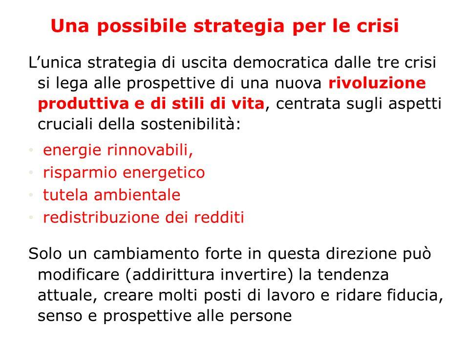 Una possibile strategia per le crisi Lunica strategia di uscita democratica dalle tre crisi si lega alle prospettive di una nuova rivoluzione produtti