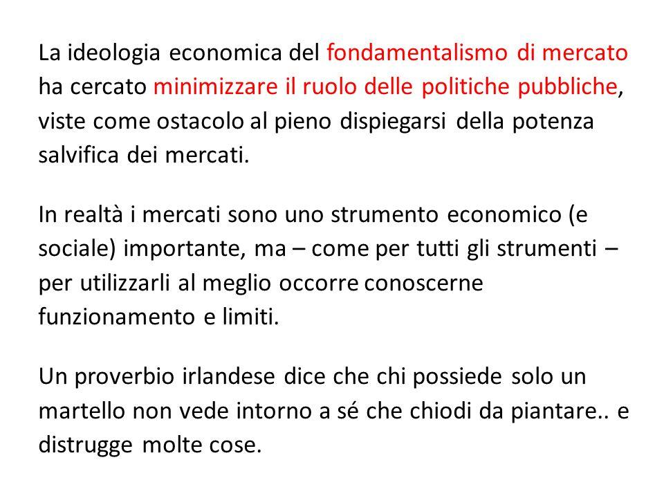 La ideologia economica del fondamentalismo di mercato ha cercato minimizzare il ruolo delle politiche pubbliche, viste come ostacolo al pieno dispiega
