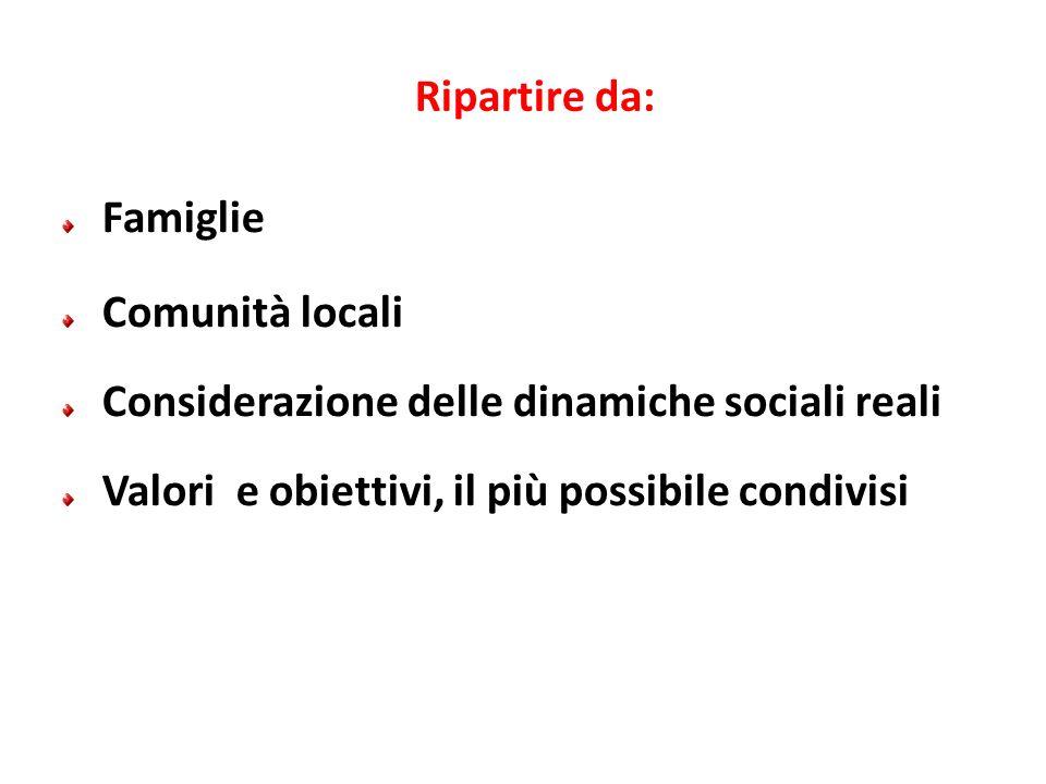 Ripartire da: Famiglie Comunità locali Considerazione delle dinamiche sociali reali Valori e obiettivi, il più possibile condivisi